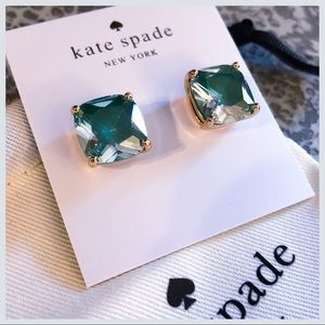 NWT Kate Spade Green Small Square Stud Earrings